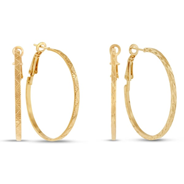18 Karat Yellow Gold Hoop Earrings With Omega Backs, 1 1/2 Inches, Buy 1 Pair, Get 2nd Pair Free!