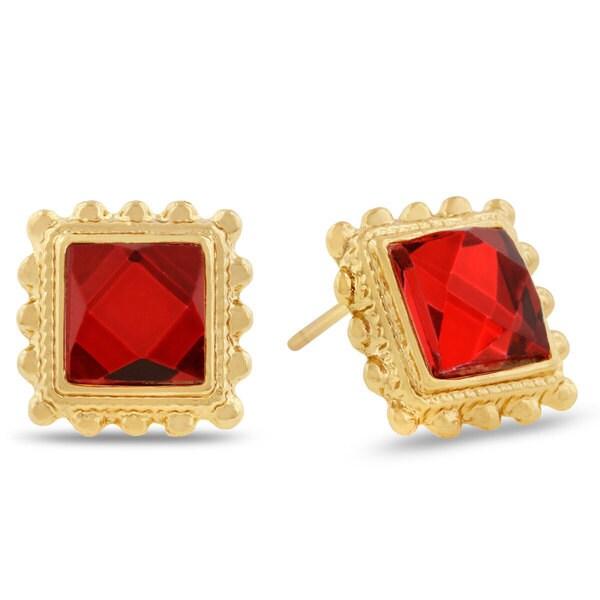 Ruby Red Swarovski Elements Square Shape Stud Earrings, Pushbacks