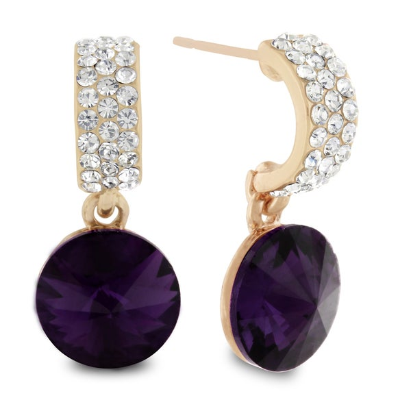 Purple Swarovski Elements Dangle Earrings, Pushbacks