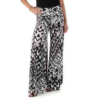 Timeless Comfort by Journee Printed Fold-over Palazzo Pants