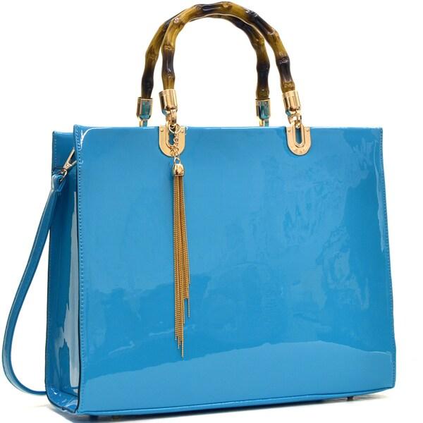 Dasein Wooden Handle Patent Leather Satchel Bag