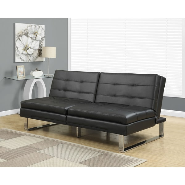 Monarch Click Clack Black Faux Leather Modern Split Back Futon