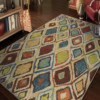 "Vibrance Collection Dazzling Diamond Multi Olefin Area Rug (7'10"" x 10'10"")"