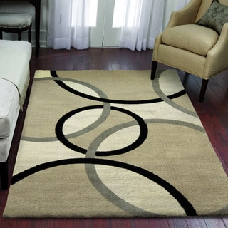 "Sherwood Collection Oris Flax Olefin Area Rug (6'8"" x 10')"