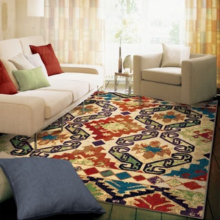 "Berkley Collection Geo Tribal Vision Multi Olefin Area Rug (7'10"" x 10'10"")"