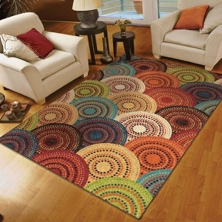 "Aria Collection Gomaz Multi Olefin Area Rug (6'6"" x 10')"