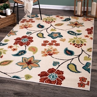 "Aria Collection Garden Chintz Ivory Olefin Area Rug (6'5"" x 9'8"")"