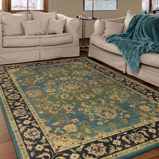 "Berkley Collection Twisted Tradition Aqua Olefin Area Rug (5'3"" x 7'6"")"