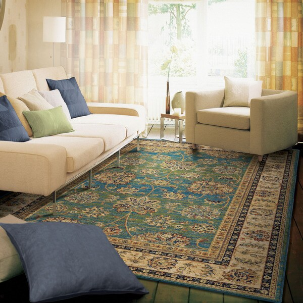 Berkley Collection Modern Vintage Aqua Olefin Area Rug (5