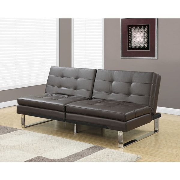Monarch Click Clack Dark Brown Faux Leather Modern Split Back Futon