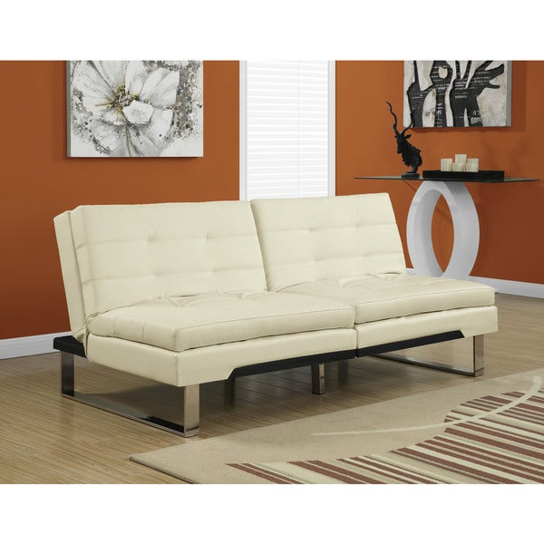 Monarch Click Clack Ivory Faux Leather Modern Split Back Futon
