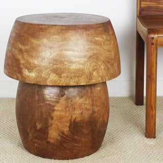 Hand-carved Walnut Tone Oil Mango HED Walnut Oil 18-inch Dia. x 20-inch High Storage End Table (Thailand)