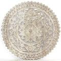 Haussmann Sand Washed Natural Wax Lotus Panel Inlay Round  , Handmade in Thailand