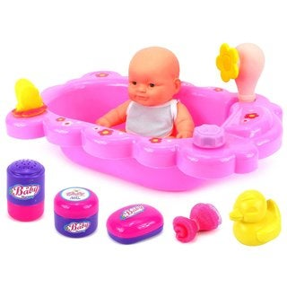 Velocity Toys Mommy and Baby Bathtub Time Toy Baby Doll Playset