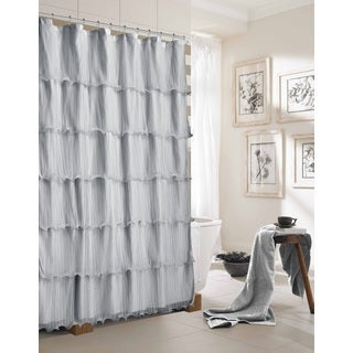 Lily Ruffled Solid Pattern Polyester Shower Curtain