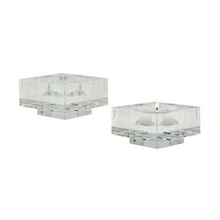 Dimond Home Small Square Windowpane Crystal Candleholders (Set of 2)