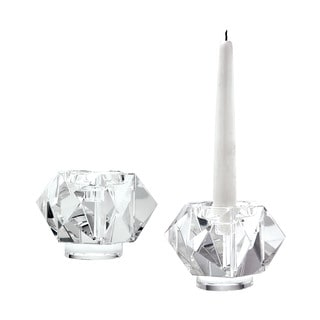 Dimond Home Small Faceted Star Crystal Candleholders (Set of 2)