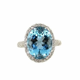 Kabella 18k White Gold Oval-cut Aquamarine and 7/8ct TDW Diamond Ring (G-H, SI1-SI2) (Size 6.5)