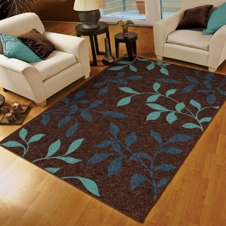 "Aria Collection Dazzling Brown Olefin Area Rug (5'2"" x 7'6"")"