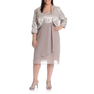 LE BOS Women's Plus Size 2-piece Matching Metallic Abstract Print Jacket Dress