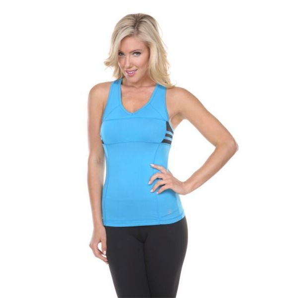 Women's Blue with Black Side Stripes Active Wear Top