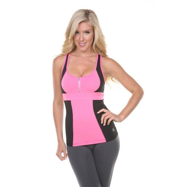 Women's Pink and Black Active Wear Top