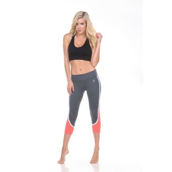 Women's Grey with Orange Stripes Active Wear Bottom