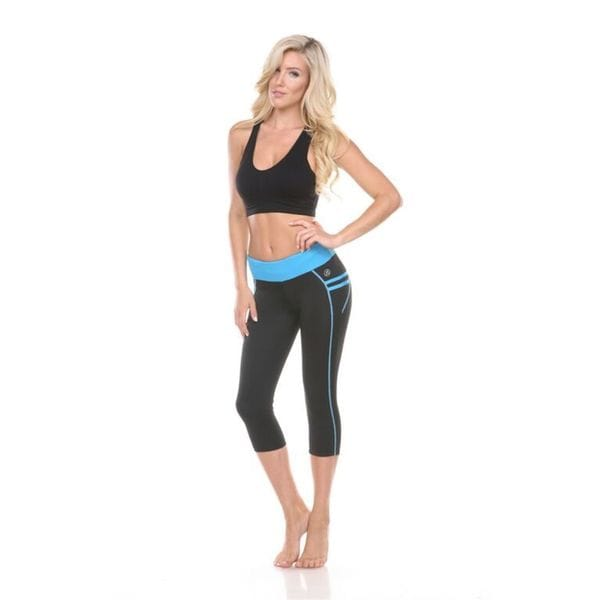 Women's Black with Blue Stripes Active Wear Bottom
