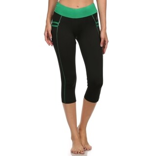 Women's Black with Green Stripes Active Wear Bottom