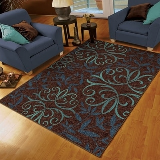 """Aria Collection Voyager Brown Olefin Area Rug (5'2"""" x 7'6"""")"""