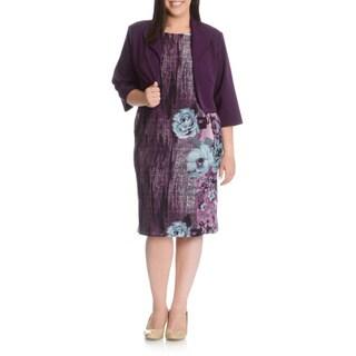 MAYA BROOKE Women's Plus Size 2-piece Floral Print Jacket Dress