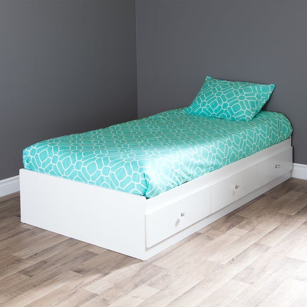 South Shore Crystal Twin Mates Bed with Turquoise Duvet Cover and Pillowcase