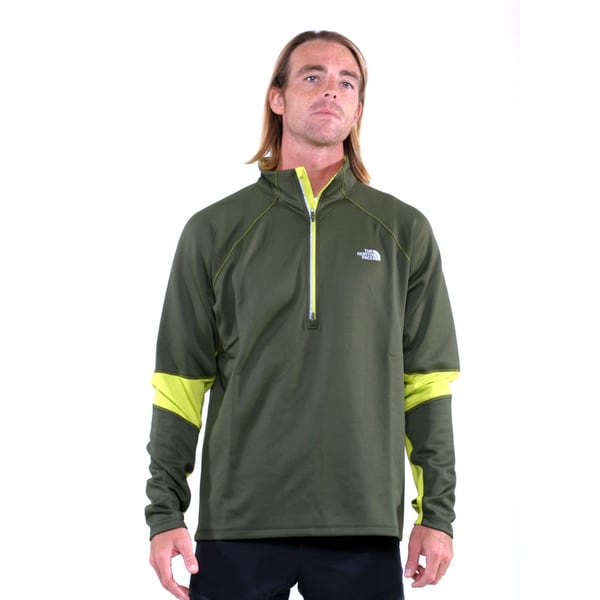 The North Face Forest Night Green with Venom Yellow Men's Momentum Thermal 1/2 Zip