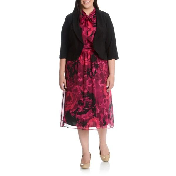 LE BOS Women's Plus Size 2-piece Rose Print Jacket Dress