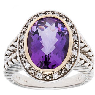 elan Sterling silver and 14k Yellow Gold 1/8ct TDW Diamond and Amethyst Ring (H-I, I1-I2) (Size 7)