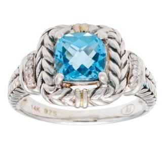 Elan Swiss Blue Diamond Accent Topaz Ring (Size 7)