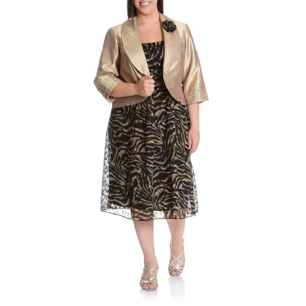 LE BOS Women's Plus Size Textured Zebra Print Dress with Metallic Blazer