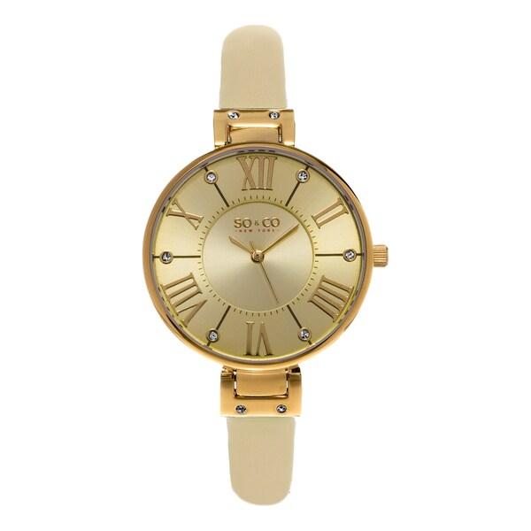 SO&CO New York Women's SoHo Quartz Champagne Leather Strap Crystal Watch