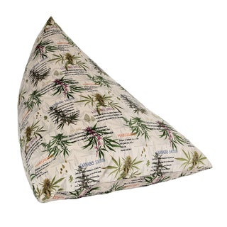 MJFI Big Fatty Green, Purple and Beige Marijuana Botanical Print Huge Bean Bag