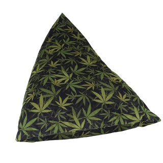 MJFI Big Fatty Black and Green Marijuana Botanical Print Huge Bean Bag