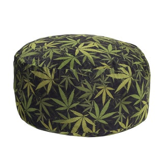 MJFI Just Chillin Black and Green Round Marijuana Print Pouf