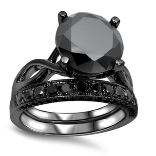 Noori 14k Black Plated 4 3/5 ct TDW Black Diamond Ring Set