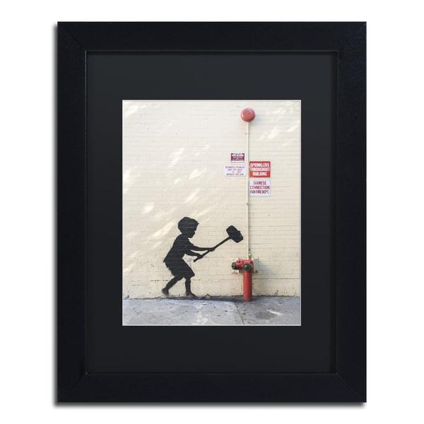 Banksy 'Better Out Than In' Black Matte, Black Framed Wall Art