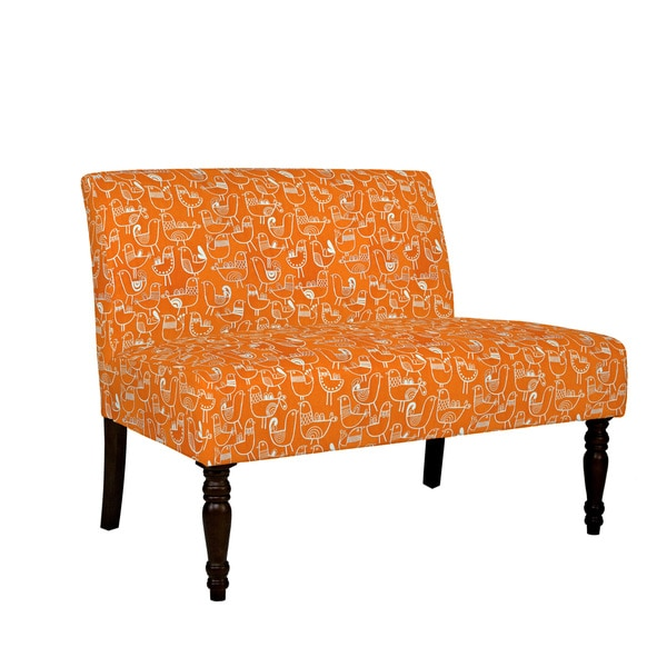 angelo:HOME Bradstreet Bird Flock Vintage Orange and Cream Armless Settee