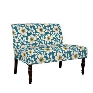 angelo:HOME Bradstreet Juniper Dusk Blue Modern Flower Armless Settee