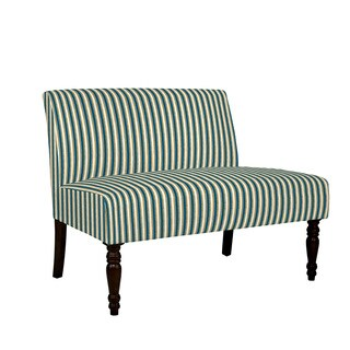 angelo:HOME Bradstreet Cottage Stripe Turquoise Blue Armless Settee