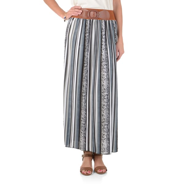 Journee Collection Women's Pleated Striped Maxi Skirt
