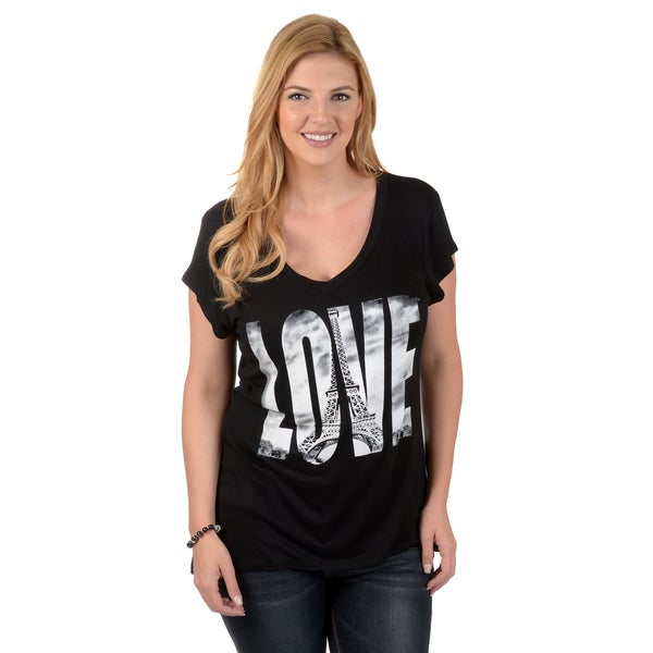 Timeless Comfort by Journee Women's Plus Paris Love V-neck T-shirt