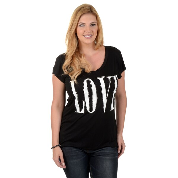 Timeless Comfort by Journee Women's Plus Studded Love V-neck T-shirt