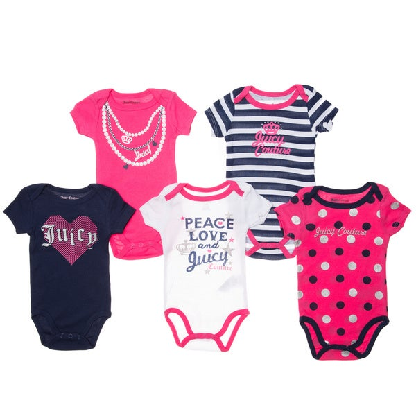 Juicy Newborn Girls' Pink/ Black Short-sleeve Bodysuit (Pack of 5)
